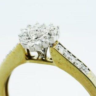 תכשיט לכלה ולערב: טבעת כסף בציפוי זהב עיצוב לב בשיבוץ יהלומים לבנים מידה: 7.25
