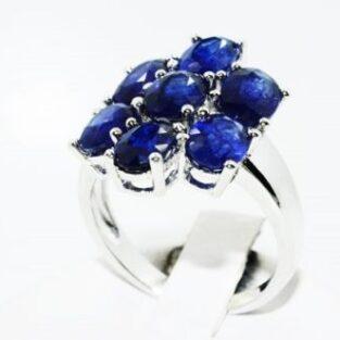 תכשיט לכלה ולערב: טבעת יוקרה כסף בשיבוץ ספיר כחול מידה: 8.25