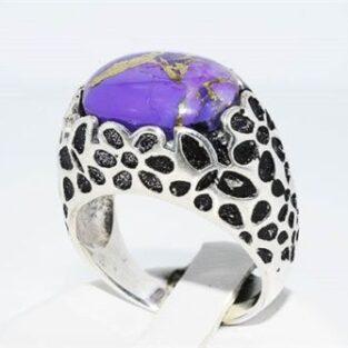 תכשיט לכלה ולערב: טבעת כסף יוקרה משובצת אגט סגול ופיריט מידה: 8.5
