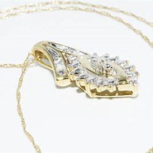 תכשיט לכלה ולערב: תליון ושרשרת זהב צהוב בשיבוץ 4 יהלומים לבנים