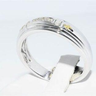 תכשיט לכלה ולערב: טבעת כסף וציפוי זהב בשיבוץ 12 יהלומים לבנים מידה: 10