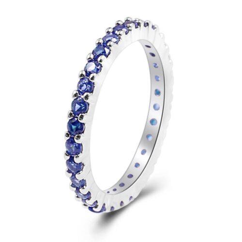 תכשיט לכלה ולערב: טבעת בשיבוץ ספיר כחול במידה: 8