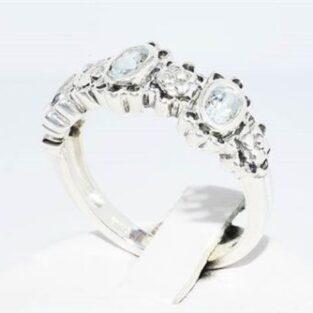 תכשיט לכלה ולערב: טבעת יוקרה כסף בשיבוץ 3 אקוומרין מידה: 8.25