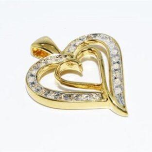 תכשיט לכלה לערב: תליון כסף ציפוי זהב בשיבוץ 24 יהלומים לבנים עיצוב לב