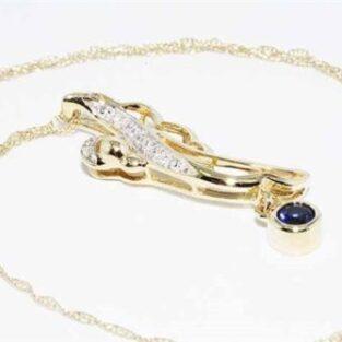 תכשיט לכלה ולערב: תליון ושרשרת זהב צהוב בשיבוץ ספיר + 6 יהלומים לבנים