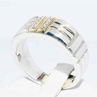 תכשיט לחתן: טבעת כסף וזהב לבן בשיבוץ 8 טופז לבן מידה: 10.75