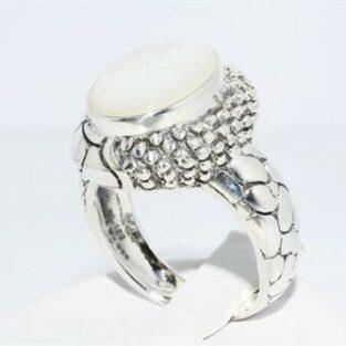 תכשיט לכלה ולערב: טבעת יוקרה כסף בשיבוץ אם הפנינה במידה: 7.25
