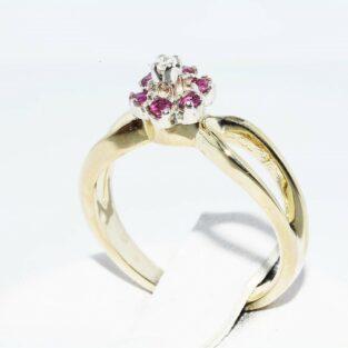 תכשיט לכלה ולערב: טבעת זהב צהוב 14 קרט בשיבוץ 6 רובי ויהלום לבן מידה: 3.25