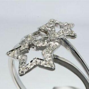 תכשיט לכלה ולערב: טבעת זהב לבן 10 קרט עיצוב כוכבים בשיבוץ 10 יהלומים לבנים מידה: 7