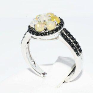 תכשיט לכלה ולערב: טבעת יוקרה כסף 925 בשיבוץ 7 אופל לבן אש + ספינל שחור מידה: 8.25 \ 11.25
