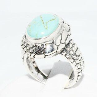 תכשיט לכלה ולערב: טבעת יוקרה כסף 925 בשיבוץ טורקיז מידה: 7