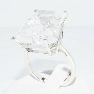 תכשיט לכלה ולערב: טבעת כסף בשיבוץ טופז לבן במידה: 10.25