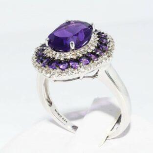 תכשיט לכלה ולערב: טבעת כסף בשיבוץ אמטיסט וטופז במידה: 6.25