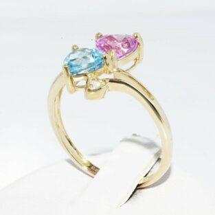 תכשיט לכלה ולערב: טבעת זהב צהוב בשיבוץ טופז כחול +טופז ורוד + 2 טופז לבן מידה: 8