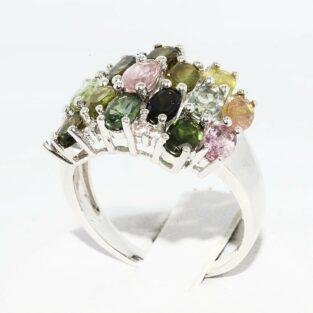תכשיט לכלה ולערב: טבעת יוקרה כסף בשיבוץ 17 טורמלין צבעוני + 8 טופז לבן מידה: 8