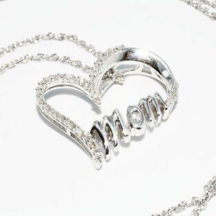 תכשיט לכלה ולערב: תליון ושרשרת כסף בשיבוץ 40 יהלומים עיצוב לב ו- mom