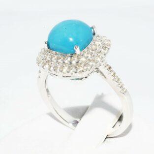 תכשיט לכלה ולערב: טבעת כסף בשיבוץ טופז כחול + 62 טופז לבן מידה: 7.25