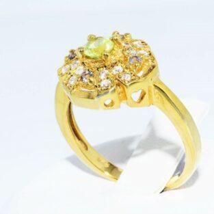 תכשיט לכלה ולערב: טבעת כסף בציפוי זהב בשיבוץ פרידות + טופז לבן + איולייט מידה: 7.25