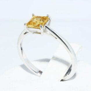 תכשיט לכלה ולערב: טבעת זהב לבן 10 קרט בשיבוץ סיטרין איכות AAA במידה: 7.25
