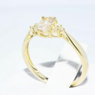 תכשיט לכלה ולערב: טבעת זהב צהוב 14 קרט בשיבוץ מרגנייט + 6 יהלומים לבנים מידה: 6.25