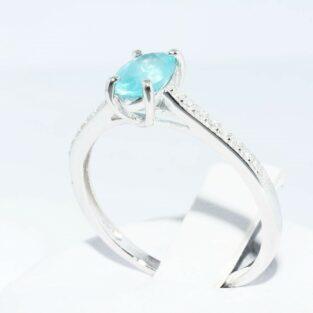 תכשיט לכלה ולערב: טבעת זהב לבן 10 קרט בשיבוץ אפטייט + 18 יהלומים לבנים מידה: 8