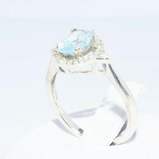 תכשיט לכלה ולערב: טבעת כסף 925 בשיבוץ אקוומרין + טופז לבן במידה: 6 \ 7.25
