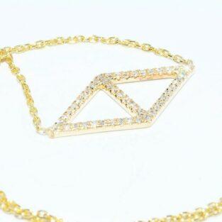 תכשיט לכלה ולערב: תליון ושרשרת זהב צהוב 14 קרט בשיבוץ 48 יהלומים לבנים