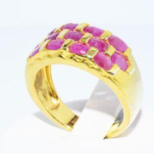 תכשיט לכלה ולערב: טבעת כסף ציפוי זהב בשיבוץ 13 רובי מידה: 8.25