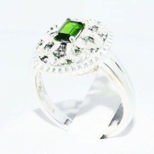 תכשיט לכלה ולערב: טבעת כסף 925 בשיבוץ דיופסיד + 12 יהלומים ירוקים במידה: 8.25