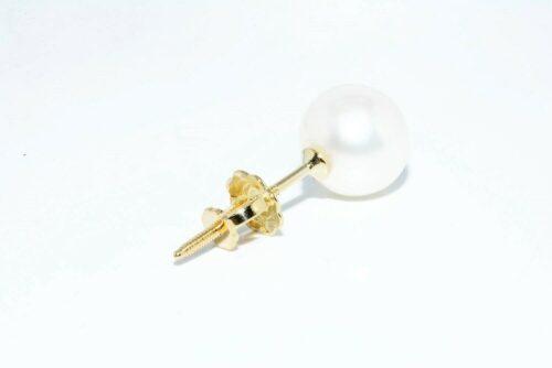 תכשיט לכלה ולערב: עגיל יחיד זהב צהוב 14 קרט בשיבוץ פנינה לבנה