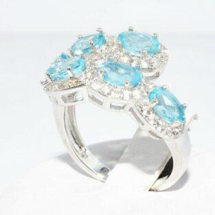 תכשיט לכלה ולערב: טבעת כסף 925 בשיבוץ 6 טופז כחול+ 72 טופז לבן מידה: 8.25