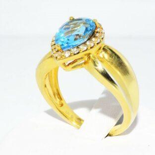 תכשיט לכלה ולערב: טבעת כסף בציפוי זהב בשיבוץ טופז כחול + 20 טופז לבן במידה: 7.25