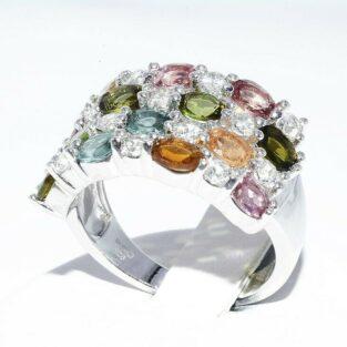 תכשיט לכלה ולערב: טבעת יוקרה כסף בשיבוץ 14 טורמלין בצבעים + 14 טופז לבן מידה: 7.25