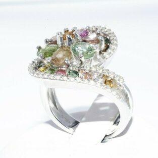 תכשיט לכלה ולערב: טבעת יוקרה כסף בשיבוץ 24 טורמלין צבעוני + 40 טופז לבן במידה: 7.25