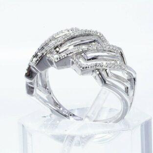 תכשיט לכלה ולערב: טבעת יוקרה כסף 925 בשיבוץ 34 יהלומים לבנים מידה: 7.25