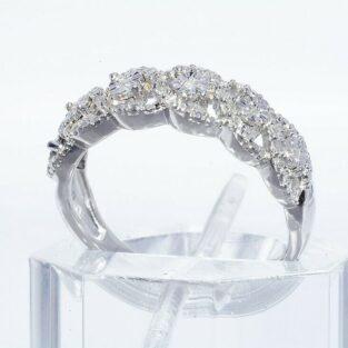 תכשיט לכלה ולערב: טבעת יוקרה כסף 925 בשיבוץ 29 יהלומים לבנים מידה: 7.25