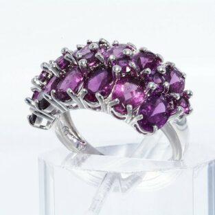 תכשיט לכלה ולערב: טבעת יוקרה כסף 925 בשיבוץ 19 גרנט רודולייט מידה: 6.25