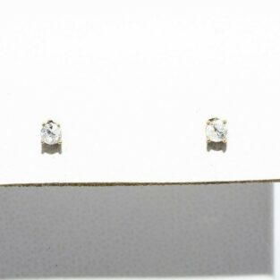 תכשיט לכלה ולערב: זוג עגילי זהב צהוב 14 קרט בשיבוץ יהלומים לבנים