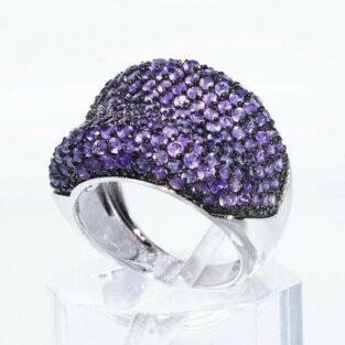 תכשיט לכלה ולערב: טבעת יוקרה כסף 925 בשיבוץ 210 אמטיסט מידה: 7.25