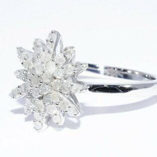 תכשיט לכלה ולערב: טבעת יוקרה כסף 925 בשיבוץ 43 יהלומים לבנים מידה: 7.25